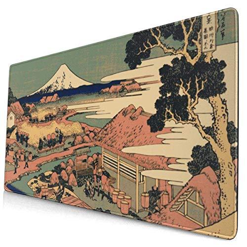 Aldeanos japoneses Que Viven con el Teclado del Mouse para Juegos extendido Mount Fuji con Bordes cosidos de 15,8 x 29,5 Pulgadas