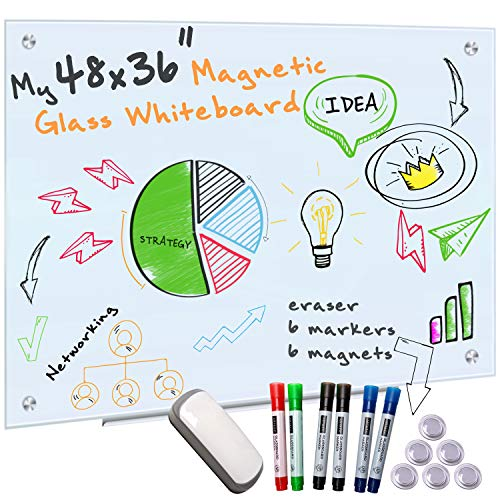 business quality controls Glass Whiteboard for Wall - 4' x 3' Frameless Magnetic Dry Erase Board with 6 Markers for Glass, 6 Magnets Board and Eraser for Dry Erase Boards