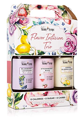 Jordan's Skinny Syrups | Flavor Infusions Trio | Sugar Free 3 Pack | Blueberry Lavender, Strawberry Rose, Lemon Elderflower | (3) 12.7 oz Bottles