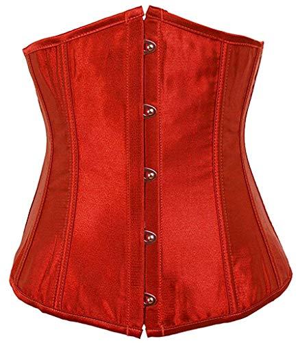 motaierly Fashion Womens Sexy Satin Vintage Underbust Waist Training Corset Red