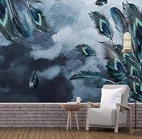 Sunkuxc カスタム3D壁画壁紙北欧のミニマリストの夢羽背景壁装飾画-400X280Cm