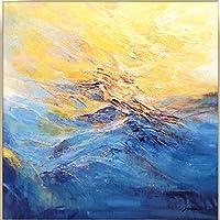 紺碧の美しい抽象的な自然の風景、キャンバスに手描きの油絵絵画3D抽象アートワークアートウッドフレームなし壁掛け装飾抽象絵画、120X120Cm(48X48Inch)