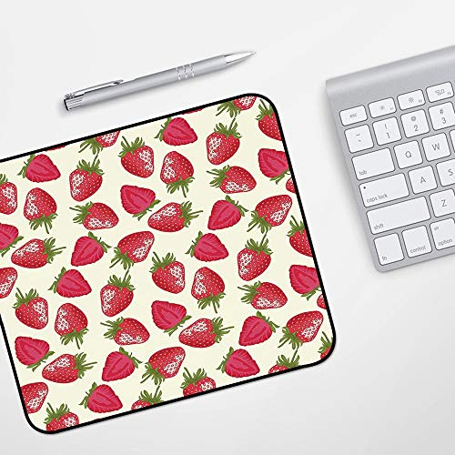 Waterproof Gaming Mouse Mat for Mouse,Fruits,Strawberries Vivid Growth Plant Vitamin Organic Diet Refreshing Image Decorative,Eggshell Red,Stitched Edges Gaming Mouse Pad Mat Smooth Comfortable
