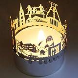 13gramm Bochum-Skyline Windlicht Schattenspiel Souvenir, 3D Edelstahl Aufsatz für Kerze inkl. Karte