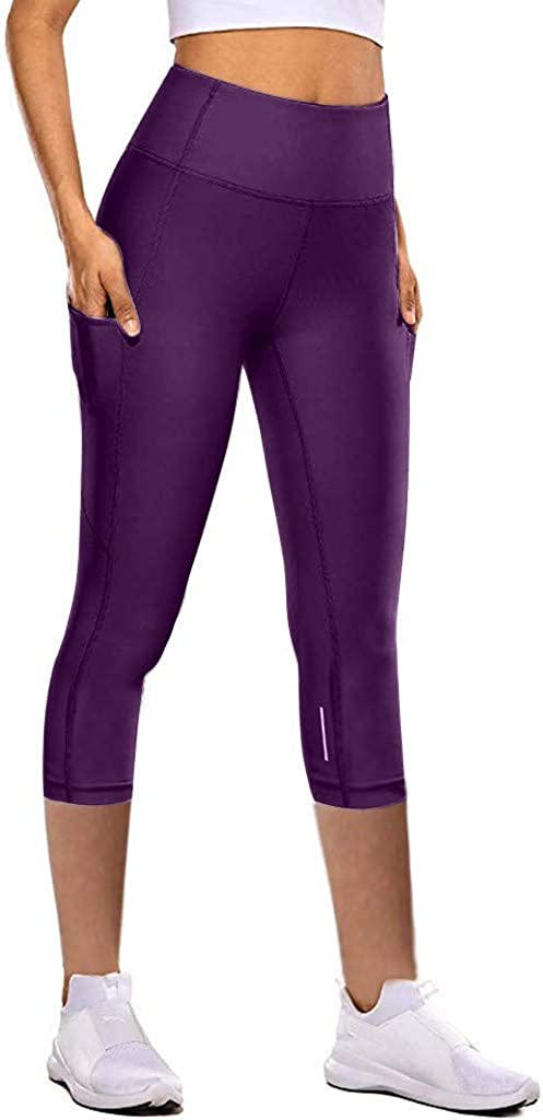 Fastbot women's Capri Workout Pants Yoga Leggings Running Sports Gym High Waist Reflective Pants with Pockets Quick-Dry
