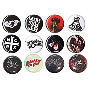 12 Button Set - Punk Emo Bands - 1 inch pin Back