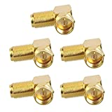 VCE 5-Pack 90 Degree Coaxial Connector, Right Angle F-Type RG6 Male to Female Adapter Gold Plated