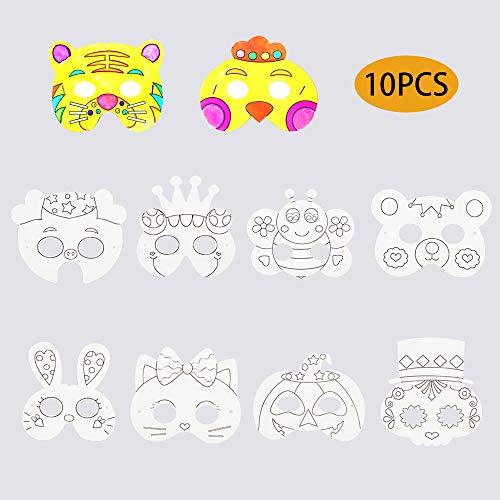 Kitchen-dream Máscaras de Animales de 10 Piezas, máscaras de la Jungla, máscaras de Halloween, Accesorio de Fiesta de Disfraces, máscaras de Animales de zoológico para Fiesta de niños