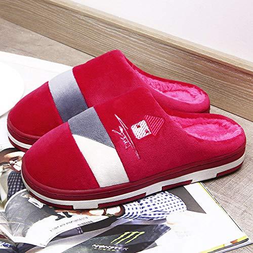 Zapatillas Casa Hombre Mujer Invierno Zapatillas Mujer Zapatillas De Colores Mezclados para Mujer Zapatillas De Casa Zapatillas De Estar Unisex Zapatos Casuales A Rayas Mujer-Wine_Red_7
