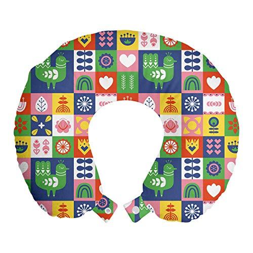 ABAKUHAUS Noruego Cojín de Viaje para Soporte de Cuello, Los pájaros y Las Flores Retro, Cómoda y Práctica Funda Removible Lavable, 30x30 cm, Multicolor