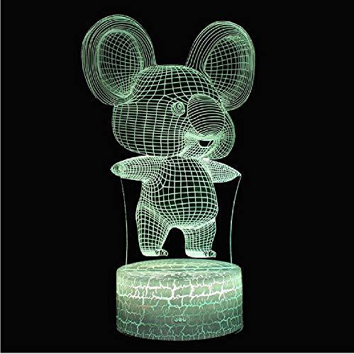 Mooie muis, thema 3D-lamp, led-nachtlampje, meerdere kleuren, aanraking, mod, lamp, kerstcadeau, remote telefoon, bluetooth-besturingskleur
