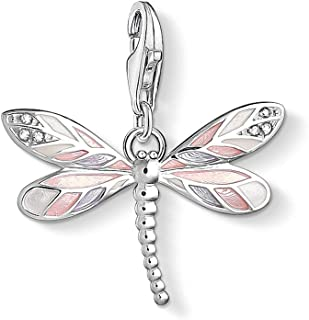 EVESCITY 925 Sterling Silver Gorgeous Many Style Lobster Clasp Charm Clip on Pendant Bead for Necklaces & Chain Link Bracelets (Realistic Dragonfly Pink)