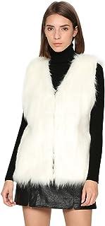 Dikoaina المرأة سيدة فو الفراء سترة صدرية طويلة الشعر الشتاء معطف دافئ معطف سترة