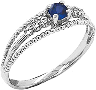 Elegant Sterling Silver Genuine Sapphire and Diamond Modern Engagement/Promise Double Rope Ring