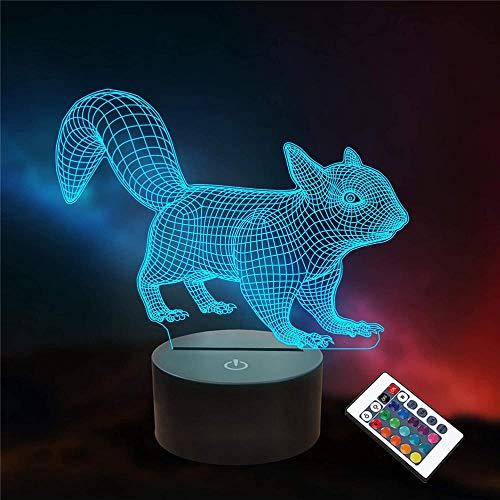 Luz nocturna 3D de ardilla, ilusión óptica, luz nocturna de 16 colores cambiantes, lámpara de luz nocturna con mando a distancia USB, decoración de escritorio, dormitorio, juguetes para niños