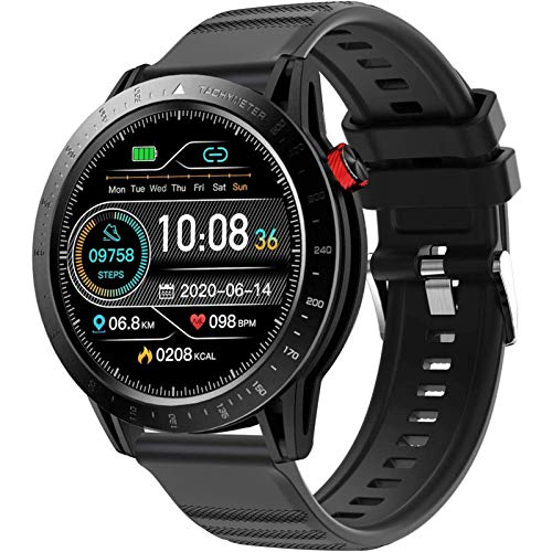 LTLJX Reloj Inteligente Mujer Hombre con Pantalla 1,3 Pulgadas, Pulsómetro, Cronómetros, Calorías, Monitor de Sueño, Podómetro,Impermeable Smartwatch de Moda para Android iOS,Negro