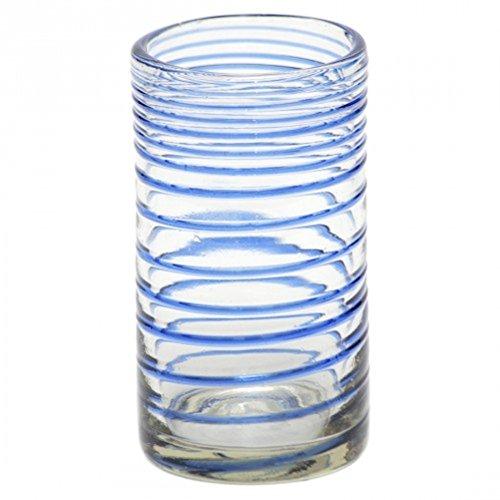 Longdrinkglas - 2er Set - Verschiedene Farben - Fair Trade - Handmade aus Mexico - Trinkglas (Spirale)