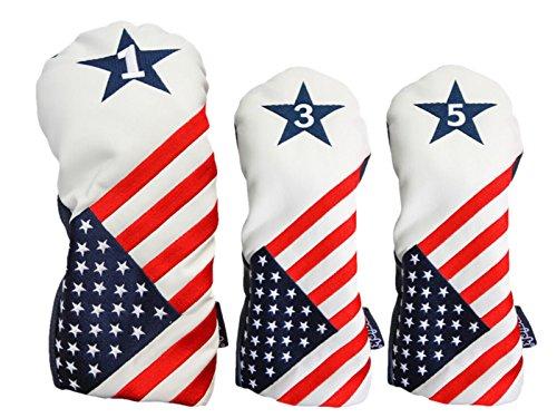 Schlägerhaube, USA 1, 3, 5, Patriot, Golf, Vintage, Retro, USA, Leder-Stil, patriotischer Driver Fairway-Holz
