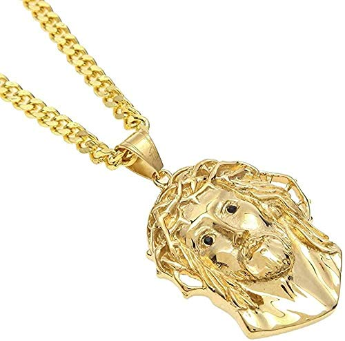 LBBYMX Co.,ltd Necklace Fashion Men Women Gold Jesus Christ Head Pendant Stainless Steel Gold Color Jesus Face Hip Hop Necklace Chain Fashion Punk Jewelry 20 Inches