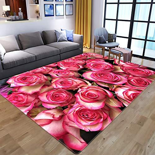 Teppich Wohnzimmer,Non Slip Area Rug For Living Dining Room,Modern 3D Printed,Pale Pink Rose,Soft Cozy Carpet For Bedroom Kitchen,Topical Floral Nursery Rug Floor Carpet Yoga Mat,160×230Cm|5.2×7.2Ft