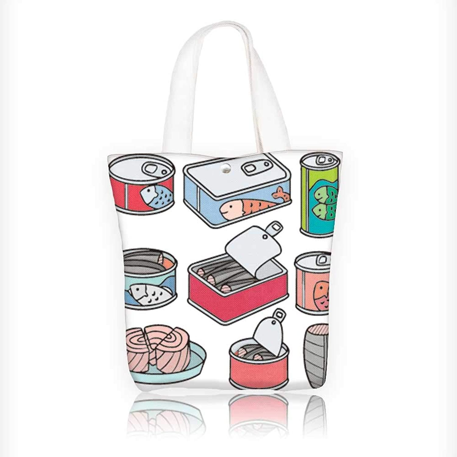 Canvas Beach Bags Vector Canned Fish Totes for Women Zippered Beach Shoulder Bag W16.5xH14xD7 INCH