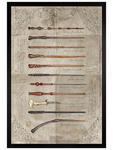 Harry Potter Maxi Poster 61 x 91,5 cm Cadre en Bois Noir The Wand de