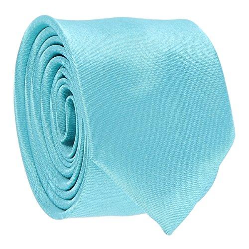 Cravate Fine Bleu turquoise - Cravate Homme Coupe Slim Moderne - 5cm à la Pointe - Couleur Unie - Accessoire Chemise pour Mariage, Cérémonie