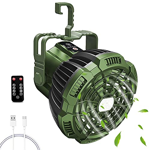 Camping Ventilator mit Led Laterne, 2 in 1 Akku VentilatorZeltCampinglampe Ledmit Fernbedienung, USB, Wiederaufladbarer Batterie, Timer 3 Leistungsstufen 7-25H Aussenventilator KeiseGrün