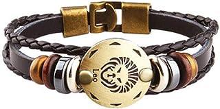 Axgo Retro 12 Zodiac Constellation Alloy Leather Hand Woven Braided Rope Bracelet Punk Chain Cuff, Leo