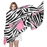 QMIN - Bufanda de seda, diseño de cebra, estampado de flamenco, largo y ligero, para mujeres y niñas