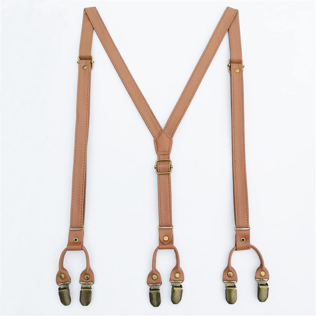 WSSBK Male and Female British Style Y-Shaped Suspenders Artificial Leather Retro Strap Clip Traditional Suit Strap Clip (Color : C, Size : 140cm)