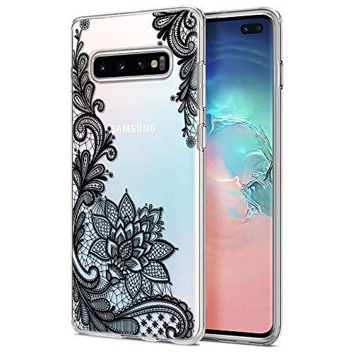 ZhuoFan Cover Samsung Galaxy S10 Plus, Custodia Cover Silicone Trasparente con Disegni Ultra Slim TPU Morbido Antiurto 3d Cartoon Bumper Case Protettiva per Samsung Galaxy S10 Plus (Fiore Nero)