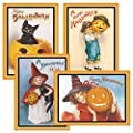 Victorian Halloween Cards - Set of 8, Vintage Themed Holiday Card Variety Pack, Assortment of 4 Unique Designs, Large 5 x 7 Inch Size, Envelopes Included