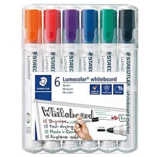 STAEDTLER 351WP6 Lumocolour Whiteboard Marker with Bullet Tip, Multicolor , Pack of 6 (B000J69O8E) | Amazon price tracker / tracking, Amazon price history charts, Amazon price watches, Amazon price drop alerts