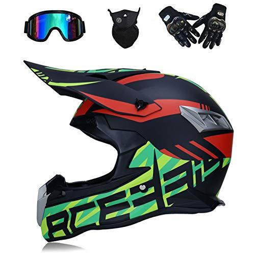 VOMI Casco de Motocross Sport Motos, con Gafas Guantes Máscara, Cascos de Cross Motocicleta Off Road Downhill Enduro ATV Quad MTB BMX Integrales para Hombres Mujeres, Dot Certificación,S