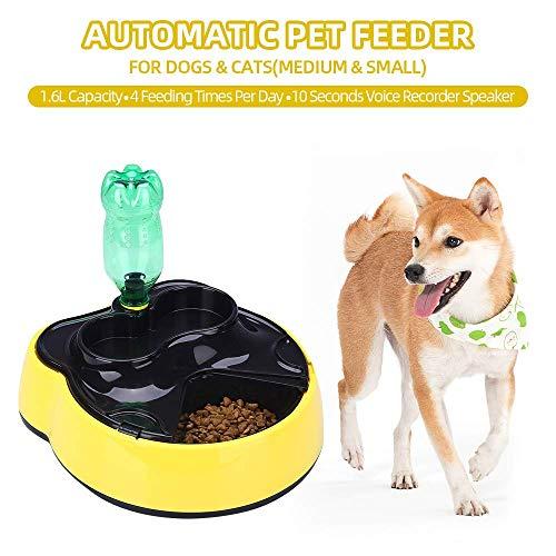 ZT TRADE Automático alimentador del Animal doméstico Comida dispensador de Agua con grabación de Voz a Temporizador porción de Control programable para pequeño Mediano Perros Gatos Yellow