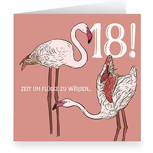 Leuke vierkante wenskaart voor de 18e verjaardag (vierkant, 15,5 x 15,5 cm incl. envelopp) met mooie flamingos: 18 tijd om vlucht - grote XL verjaardagskaart voor volle jaar 3 Grußkarten