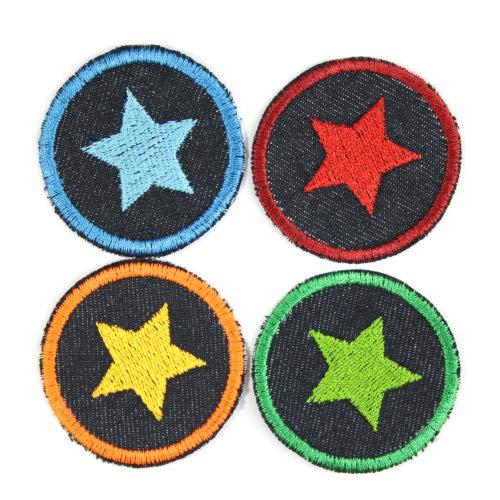 Bügelbilder mit Stern 4 Flicken Aufbügler kleine bunte Bügelflicken rund ø 5 cmBio Jeansflicken Patches Hosenflicken zum aufbügeln