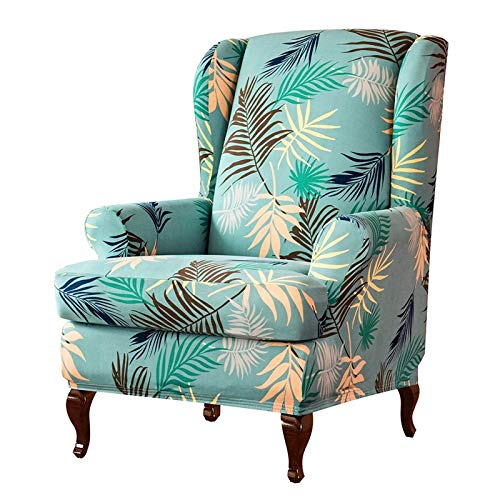Sloping Arm Chair Cover Elastic Armchair King Back Wing Sofa Back Chair Cover Stretch Protector Slip Cover Protector green