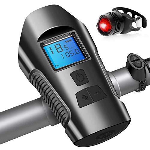 Luz Bicicleta USB Recargable, Impermeable Luces para Bicicletas Delantera y Trasera con Velocímetro Multifunción y Bocina, 4 Modos, Luz LED Linterna Bicicleta para Carretera y Montaña