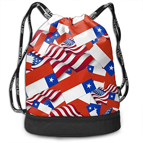 PmseK Mochila con Cordón,Bolsas de Gimnasia, Drawstring Bag Chile Flag with America Flag Shoulder Bags Travel Sport Gym Bag Print - Yoga Runner Daypack Shoe Bags with Zipper and Pockets