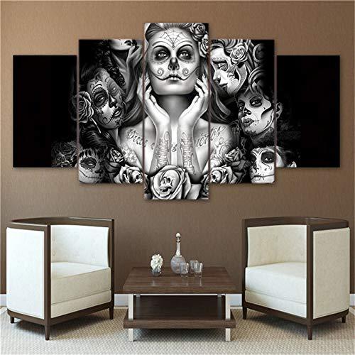 WINPRINT Womans Tattoos en Lienzo de la Cara Cuadros de la Pared Impresiones en HD Pintura artística 5 Paneles de Belleza niñas Pinturas Decorativas, sin Marco 20X35 20X45 20X55cm
