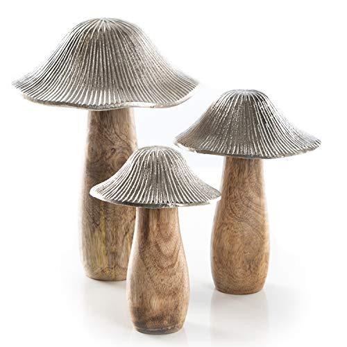 Logbuch-Verlag Pilz Figuren Set - 3 Deko Pilzfiguren aus Holz & Metall Silber braun - Dekoobjekte als Frühlingsdeko Herbstdeko Ganzjahresdeko