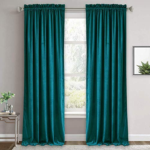 Velvet Curtains - Room Darkening Curtains for Living Room, Luxury Soft Window Drapes for Bedroom, Privacy Protect Thermal Insulated Backdrop, 52-inch Width x 96-inch Length, Peacock Blue, 1 Pair