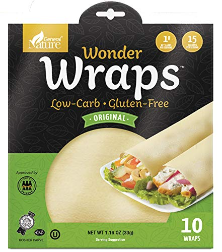 Wonder Wraps -Original- Low Carb Keto Tortillas | Non-GMO Kosher Low Calorie Burrito Wraps | Perfect for Weight Loss | Delicious Gluten Free, Soy Free, Nut Free, Vegetarian Food (1 Pack/10 Thin Wraps)