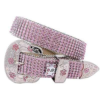 Xs-109-kids Girls Western Belts Little Girls Crystal Belts (pink)