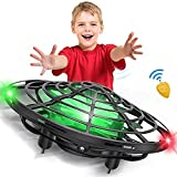 CPSYUB Hand Operated Drones for Kids Adults, 5 Infrared Sensor Mini UFO Drone, Indoor and Outdoor Flying Ball Drone Toys for Boys and Girls(Black)