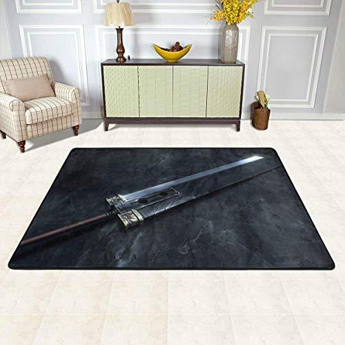 Final Fantasy VII-Buster Sword Non-Slip Carpet Area Rug Modern Flannel Microfiber Anime/Cartoon Rectangle Carpet Decor Floor Rug Living Room,Bedroom,Study Floor Mat 90x60cm