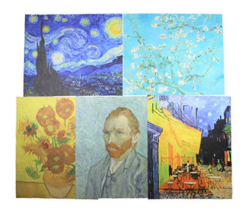 Vincent Van Gogh Painting Art Premium Quality Microfiber Cleaning Cloth 5 Pack,6x7 inch,Eyeglass Lens Cleaner, Glasses, Cell Phone, Camera, Computer, Screen Cleaning. (5pk-set1) (Multicolor)