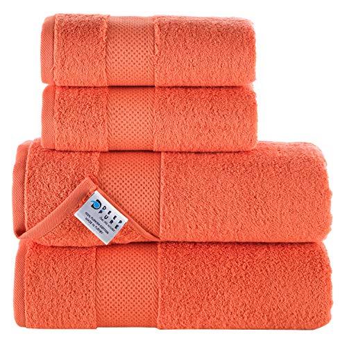 Deep and Pure Baumwolle Handtuch Set von 4 Badetüchern und Handtüchern, extra weich und sehr saugfähig – Handtücher für Zuhause, Dusche, Fitnessstudio, Schwimmen – Badwäsche für den täglichen Gebrauch
